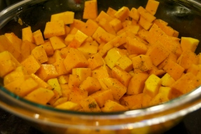 cubed squash with olive oil and seasoning